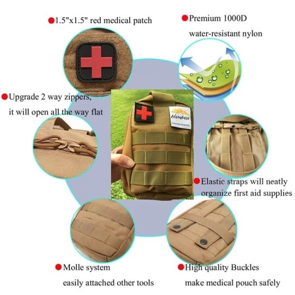 251 Pieces Compact Tactical Trauma First Aid Bag Red Molle Compatible Emergency Pouch for Outdoor Camping Hiking Backpacking and Travel I GO Survival First Aid Kit